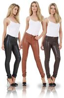 Ladies Fashion PU Jeans Skinny Pants Jeggings Leather Look Stretch Jeggings