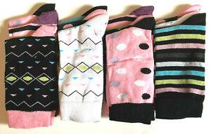 6 Pairs Ladies Womens Coloured Design Socks Cotton Blend Designer Adults 4-7