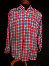 RARE VINTAGE 1950'S FRENCH RED AND BLUE PLAID RAYON GABARDINE SHIRT SZ SMALL
