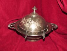 silverplate, glass bowl etched dome lid side utensil holder St Louis Silver (b6)
