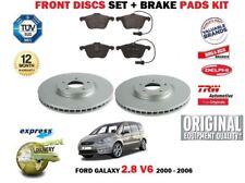 Para Ford Galaxy 2.8 V6 204BHP 2000-2006 Delante 313mm Juego Discos Freno +
