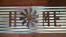 "Rustic HOME windmill 18"" fan with 15"" letters rusted  Hand Made wall art"