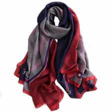 Foulard 180 X 90cm Soie à motif Rouge et bleu -  Silk séide scarf shawl  NEUF