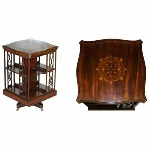 ARTS & CRAFTS LATE VICTORIAN ANTIQUE REVOLVING BOOKCASE ROSEWOOD & WALNUT INLAID