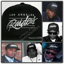 Vintage Snapback Replica LA Los Angeles Raiders Lined Black Cap Hat NWA EAZY E