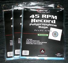 "300 ct. 45 RPM 7"" Record RESEALABLE OUTER SLEEVES 2 Mil Clear Poly High Quality"