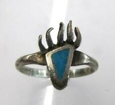 925 STERLING SILVER RING BEAR CLAW WITH TURQUOISE SIZE 5 1/2 ~RT10