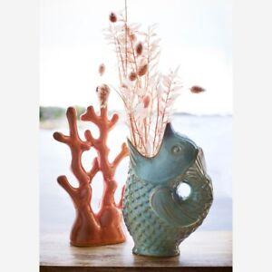 Light Green / Blue Gluggle Jug, Fish Vase, Ceramic Gurgle Glug Retro Fun