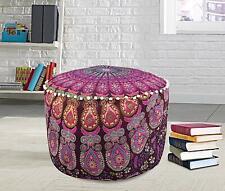 Purple Boho home decor ottoman pouf cover Cotton mandala Floor Pillow Footstool