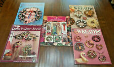 Lot/5 Different Vtg Booklets w/Flowers/Wreaths/Garland s/Raffia Projects, Preown