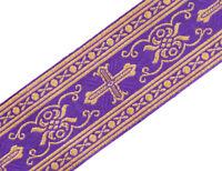 "3 Yards NeoGothic Religious Vestment Trim Purple Gold Metallic Jacquard  2"" Wide"