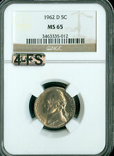 1962-D JEFFERSON NICKEL NGC MAC MS65 4FS 2nd finest VERY RARE *