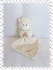 S - Doudou Peluche Mouton Agneau Blanc Beige  avec Mouchoir Les Flocons Baby Nat