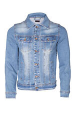 Mens Denim Jacket Button Cotton Washed Detail Trucker Jeans Jacket Blue 2xl