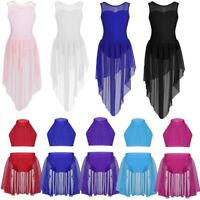 Girl Kid Lyrical Dance Dress Ballet Latin Dancewear Mock Neck Tops Skirt Costume
