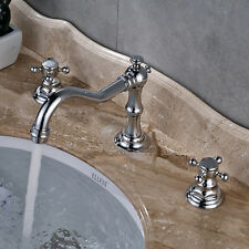 Chrome Brass Bathroom Basin Faucet Deck Mount Hot Cold Vanity Sink Mixer Tap Set