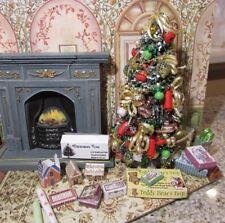 DOLLHOUSE MINIATURE CHRISTMAS TREE #28 (RED, GOLD, WHITE & GREEN) --OOAK
