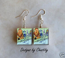 Wizard Of Oz Earrings Scrabble Art Charm VTG Lion Tin Man Dorothy Toto Scarecrow