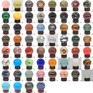 Wholesale Crystals 40MM Natural Gemstone Reiki Healing Stone Sphere Ball Globe