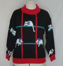 Vintage Black Pullover Cats with Bows Large Bust 40
