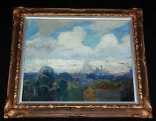"1940s AMERICAN OIL on BOARD PAINTING ""CITY SCENE"" by CARL WILLIAM PETERS (Jo"