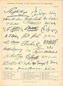 1877 PRINT ~ FACSIMILE AUTOGRAPHS ~ ISAAC TAYLOR JONATHAN SWIFT ROBERT SOUTHEY