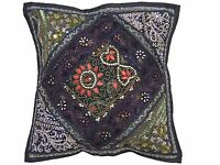 Black Sari Patchwork Throw Pillow Cover Eclectic Ethnic Decorative Cushion 16""