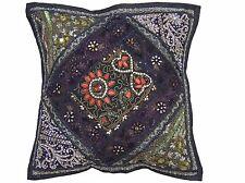 "Black Sari Patchwork Throw Pillow Cover Eclectic Ethnic Decorative Cushion 16"""