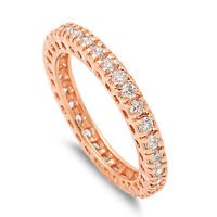 .925 Sterling Silver 3MM STACKABLE ETERNITY ROSEGOLD WITH CLEAR CZ DESIGN RING