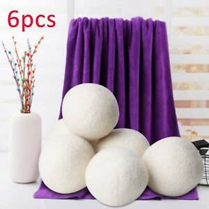 6PCS Wool Tumble Dryer Balls 6cm Natural Reusable Laundry Clean Practical Home