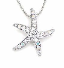 STAR FISH SILVER TONE CRYSTAL CHARM PENDANT NECKLACE