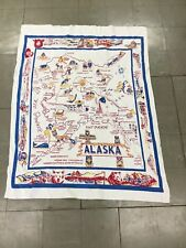 Vintage Retro Alaska Alaskan State Linen Table Cloth Near Mint