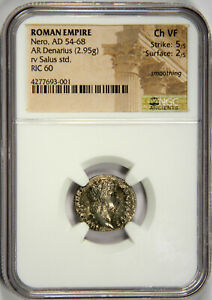 ROMAN EMPIRE NERO, AD 54-68 AR DENARIUS - NGC CH VF 5/5 2/5! (INV#TS)