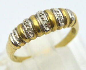 VINTAGE 333 YELLOW GOLD RING with DIAMONDS RING (US 7.75 SIZE)