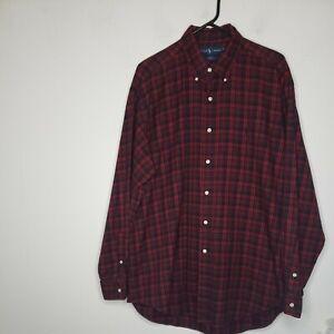 Ralph Lauren Men's Button Front Shirt Large Red Black Plaid Blake Long Sleeves