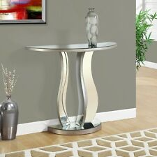 Mirrored Console Table Half Moon Modern Glam Style Accent Entryway Hallway New