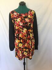 Motel short shift dress Black with floral pattern and long sleeves size 8