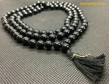 Black Agate Mala Prayer 108 Beads crystal Buddhist meditation japa Hinduism Yoga