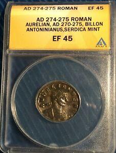 Roman Empire Aurelian == Billon Antoninianus = ANACS  XF-45 = AD 274-275 ==  !