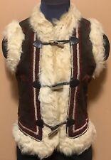 Genuine Mongolian Fur & Suede Hippie Boho Toggle Vest Sz S