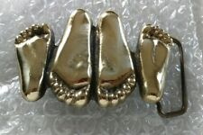 SOLID BRASS CHROME PLATED HAPPY FEET BELT BUCKLE 1970s
