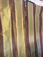 Pair 100% Silk Drapes 50 X 94 Brown Yellow Green Vertical Quality Drapes