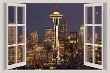 Seattle Skyline Space Needle Skyline Window Color Wall Sticker Mural 36x24