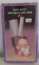 Vintage Miss Kitty Hair Brush and Comb Set Blond Girl White Cat #115