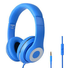 Over Ear Headphones DJ Headset 3.5mm for Kindle Fire iPhone iPod MP3/4 DVD Blue