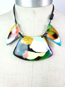 Sobral Rare Kandinsky Fly Vibrant Hues 3 Large Beads Artist Made Necklace