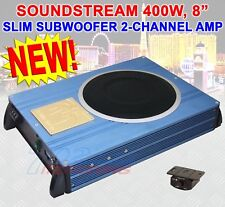 "SOUNDSTREAM RFM8.2 8"" 400W SUBWOOFER SLIM BASS BOX EXTRA 2-CHANNEL AMPLIFIER NEW"