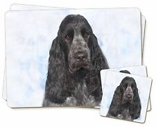 Blue Roan Cocker Spaniel Dog Twin 2x Placemats+2x Coasters Set in Gift, AD-SC5PC