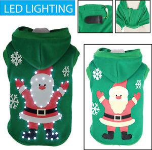 Pet Life LED Lighting Hands-Up-Santa Pet Dog Sweater Hooded Costume