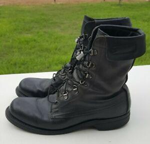 VTG Addison Shoe Company Sz 9D Black Combat Military Boots USA Biltrite Sole